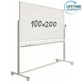 verrijdbaar whiteboard emaille 100 x 200 cm