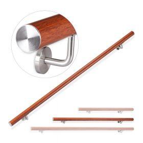 Main courante en aluminium avec aspect bois de chêne - 150 cm - Pour l'intérieur et l'extérieur