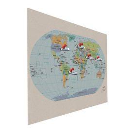 Tableau d'affichage (liège) - Mural - Carte du monde - 90x120cm