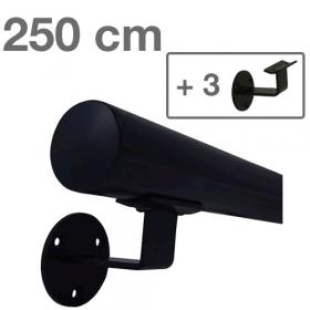 Main courante noire 250 cm + 3 supports
