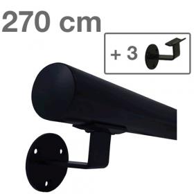 Main courante noire 270 cm + 3 supports