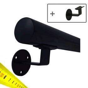 Main courante noire + supports - Sur mesure par cm