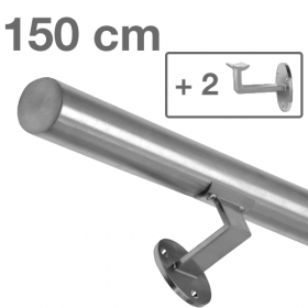 Main courante inox brossé 150 cm + 2 supports