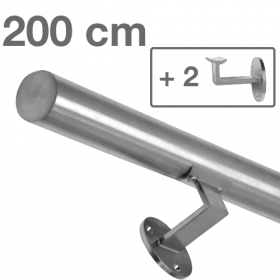 Main courante inox brossé 200 cm + 2 supports