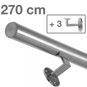 Main courante inox brossé 270 cm + 3 supports
