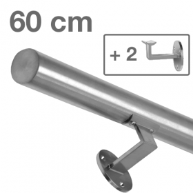 Main courante inox brossé 60 cm + 2 supports