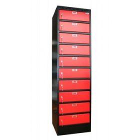 Armoire de rangement Filex pour 10 ordinateurs portables ou tablettes - Noir/rouge