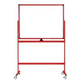 Tableau blanc mobile - Double face et magnétique - 100 x 150 cm - Rouge