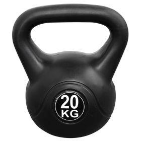 Kettlebell pour l'intérieur et l'extérieur - Plastique - Noir - 20 kg