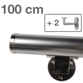 Main courante 100 cm + 2 supports + 2 embouts - simili inox