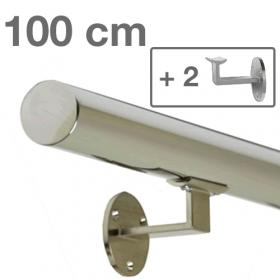 Main courante en inox poli 100 cm + 2 supports