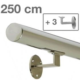 Main courante inox poli 250 cm + 3 supports