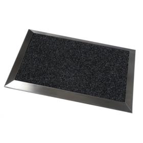 Tapis d'entrée moquette avec bordures en inox - 50 x 70 cm