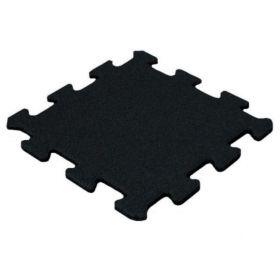 Dalle puzzle en caoutchouc 15 mm - 50 x 50 cm - Noir - Grain fin