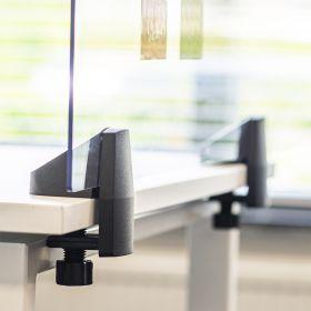 Écran de séparation / écran de bureau en plexiglas - Inclus pinces pour bureau individuel - 58 x 160 cm