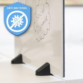Écran de séparation combiné tableau blanc / tableau d'affichage - Inclus pinces pour bureau double - 58 x 120 cm