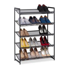 Verstelbaar schoenenrek zwart metaal 5 etages 15 paar schoenen standaard