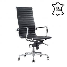 chaise de bureau madrid noire 100% cuir