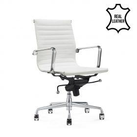 Chaise de bureau Valencia - 100% cuir - Blanc