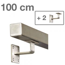 Main courante carrée en acier inoxydable 100 cm + 2 supports