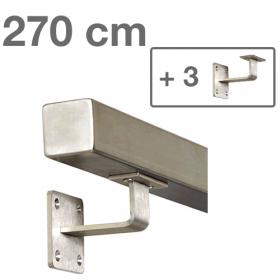 Main courante carrée en acier inoxydable 270 cm + 3 supports