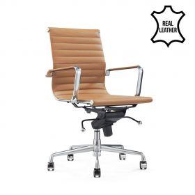 Chaise de bureau - 100 % cuir - Cognac
