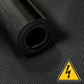 Tapis VDE / tapis haute tension / tapis isolant - 3 mm 30 kv - Largeur 100 cm - Par mètre linaire - Noir